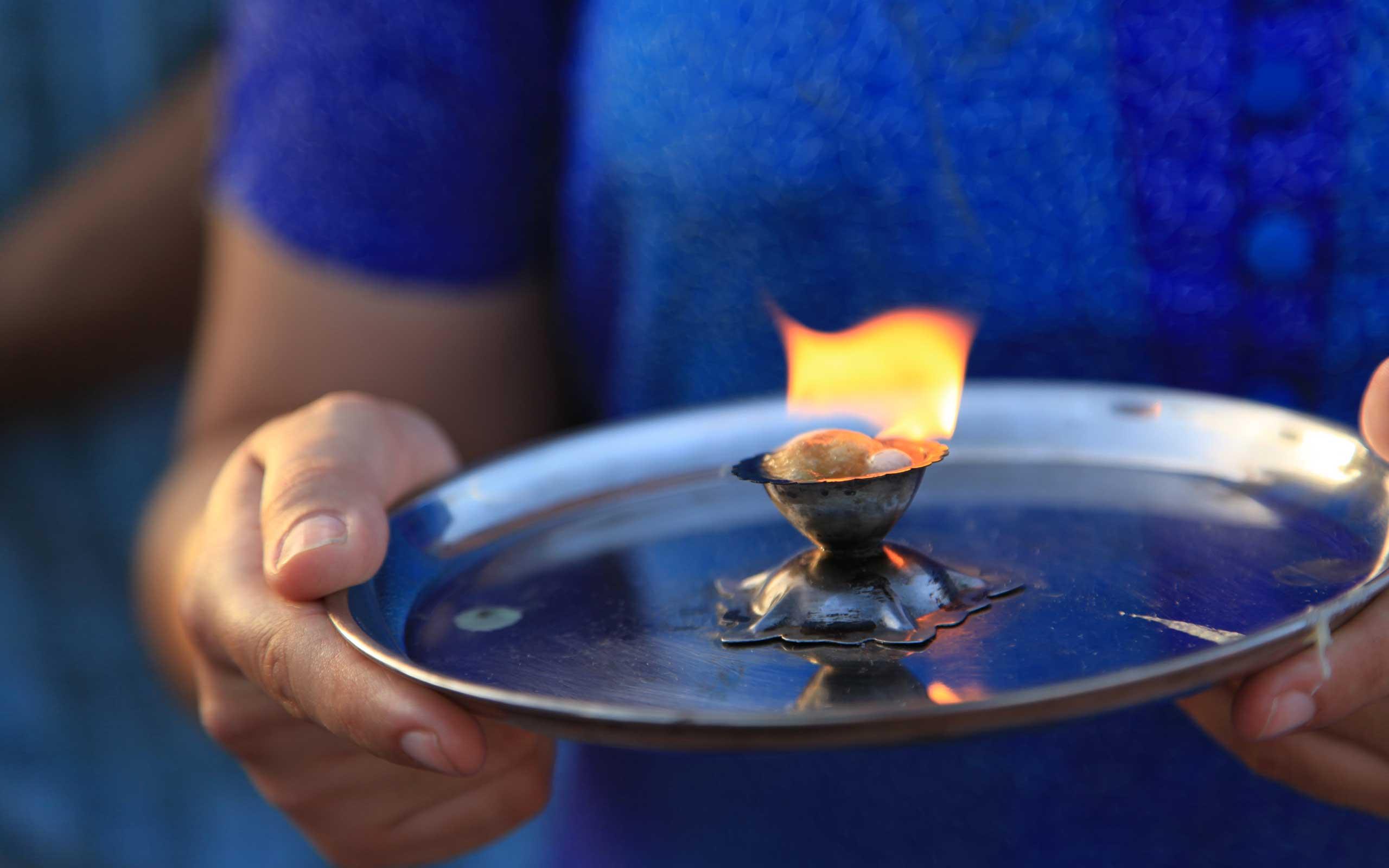 Offering Gratitude on the Ganga Puja Ceremony at the International Day of Yoga, Adeje Tenerife