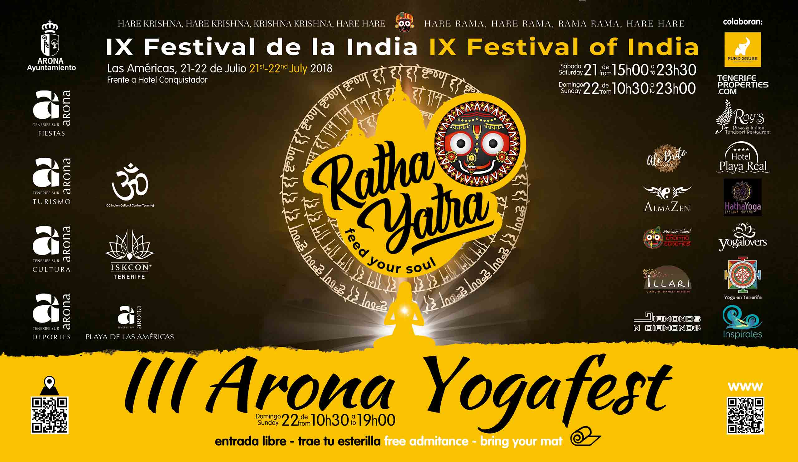 Program of Ratha Yatra Festival in Playa de Las Américas on July 21 & 22, 2018