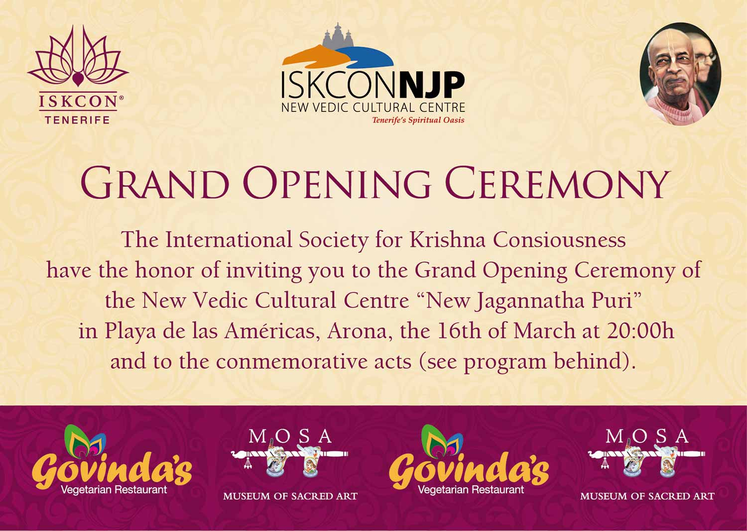 "Grand Opening Ceremony New Vedic Cultural Centre ""New Jagannatha Puri"""
